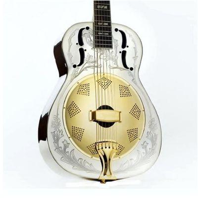 Ozark Resonator Guitar, Nickel Plated, Engraved
