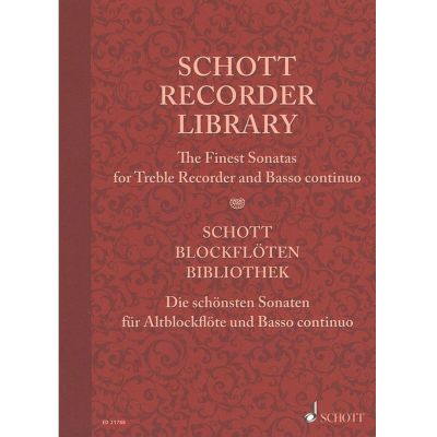 Schott Recorder Library - The Finest Sonatas for Treble Recorder and Basso continuo