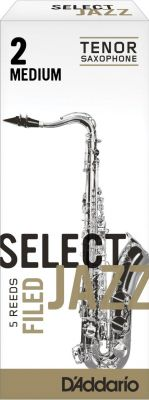 Rico Select Jazz Tenor Sax Reeds, Unfiled, Strength 2 Medium (5 Pack)