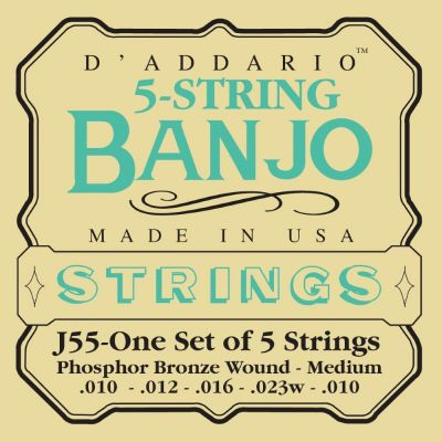 D'Addario 5-String Banjo Strings, Phosphor Bronze, Medium, 10-23