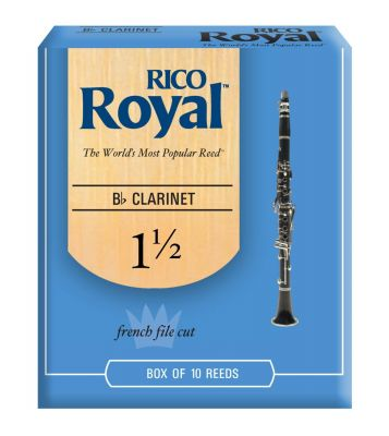 Rico Royal Bb Clarinet Reeds, Strength 1.5 (10 Pack)