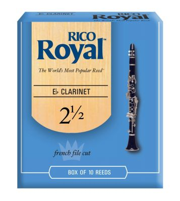Rico Royal Bb Clarinet Reeds, Strength 2.5 (10 Pack)