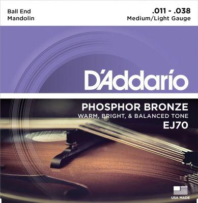 D'Addario Mandolin Strings, Phosphor Bronze, Ball End, Medium/Light, 11-38