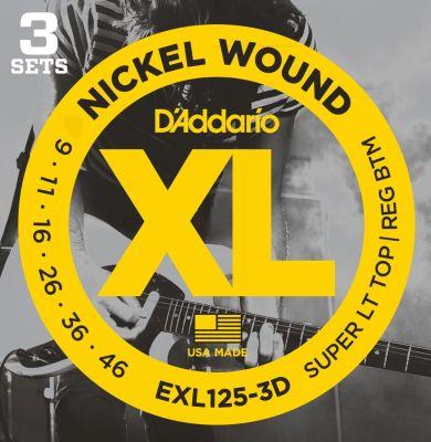 D'Addario XL Super Light Top Regular Bottom 3D Set