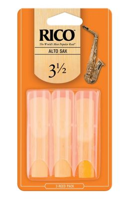 Rico Orange Alto Sax Reeds, Strength 3.5 (3 Pack)