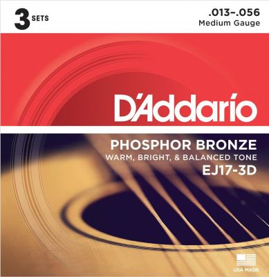 D'Addario Phosphor Bronze Medium 3D Set