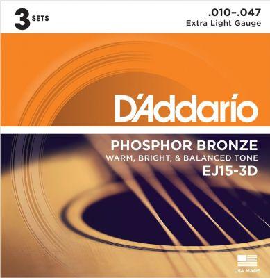 D'Addario Phosphor Bronze Extra Light 3D Set