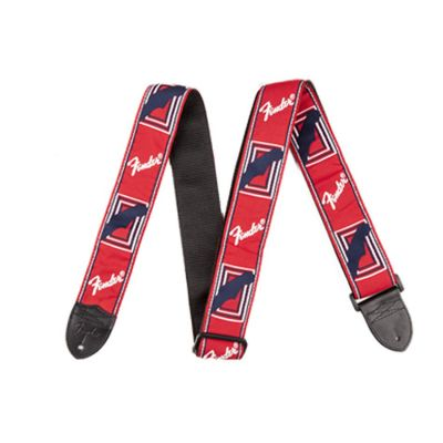Fender 2 Monogrammed Guitar Strap, Red/White/Blue