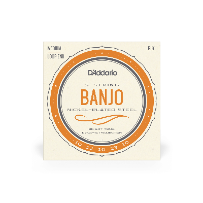 D'Addario 5-String Banjo Strings, Nickel, Medium 10-23