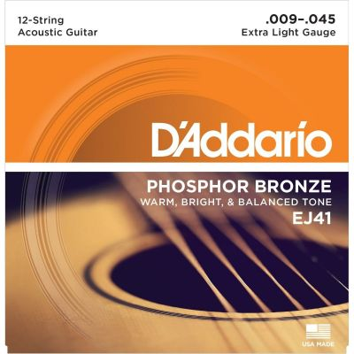 DAddario EJ41 12-String Acoustic Guitar Strings, Extra Light, 9-45