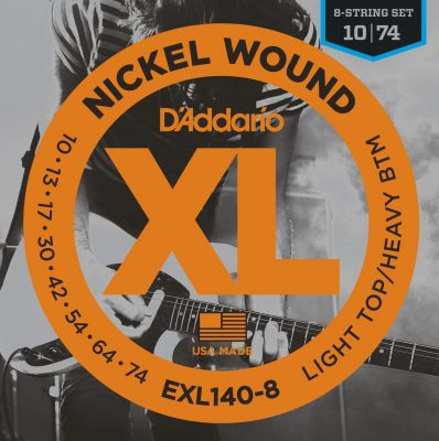 D'addario EXL1408 Electric Guitar String Set Lite Heavy Bottom 8
