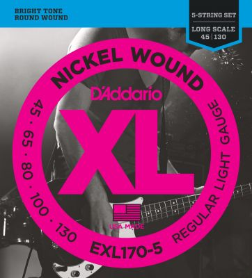 D'Addario XL Nickel Wound 5-String Bass 045-130 Long