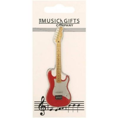 Music Gifts Fridge Magnet Red Electric Guitar