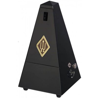 Wittner W816 Wooden Pyramid Metronome with Bell, High Gloss Black