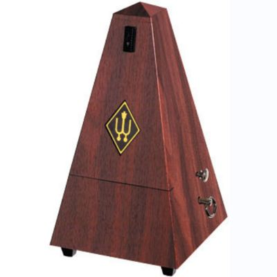 Wittner 2181 Pyramid Metronome with Bell, Plastic Casing, Mahogany Finish