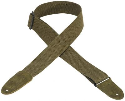 Levys MC8-GRN 2 inch Green Cotton Strap with Leather Ends