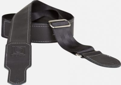Boss 2 Black Seatbelt with black leather hybrid guitar strap