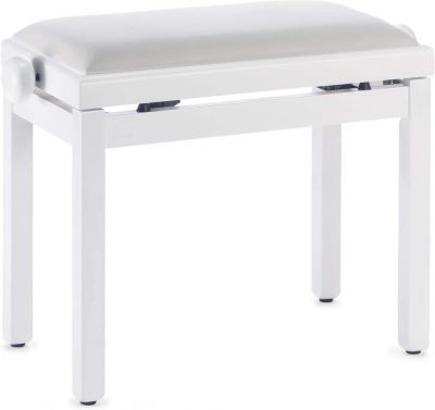 Stagg Rise and Fall Piano Stool, White Satin with Velvet Top