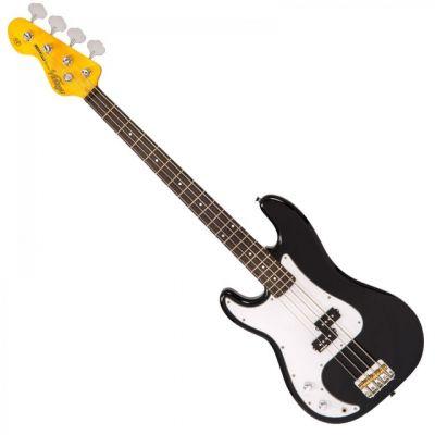 Vintage LV4 Left Hand Bass Guitar Black