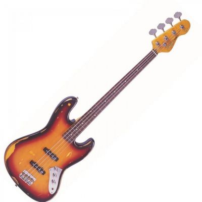 Vintage V74 Icon Fretless Bass Guitar Sunburst