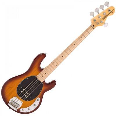 Vintage V965 Active 5 String Bass Flamed Tobacco Sunburst