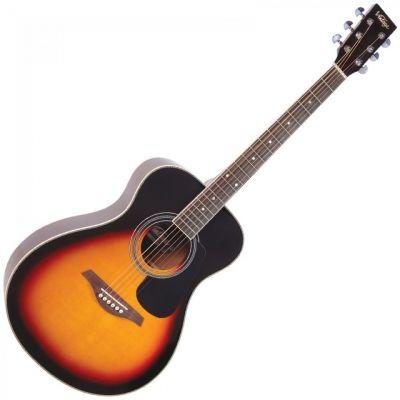 Vintage V300 Folk Guitar Solid Top Vintage Sunburst