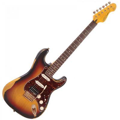 Vintage V6 Icon Electric Guitar HSS Distressed Sunburst
