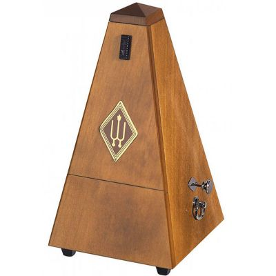 Wittner W813 Wooden Pyramid Metronome with Bell, High Gloss Walnut Finish