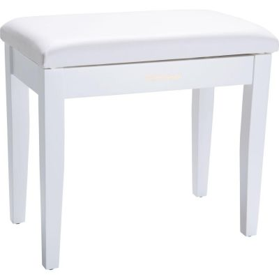 Roland Piano Bench, Satin White, Vinyl Seat, Music Compartment