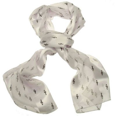 Scarf Treble Clef White