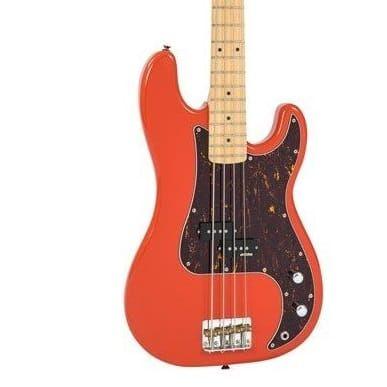 Vintage V4 Bass Maple Fretboard Firenza Red