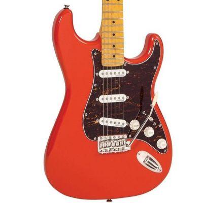 Vintage V6 Electric Guitar Maple Fingerboard Firenza Red