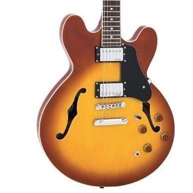 Vintage VSA500 Semi Acoustic Guitar Honey Burst