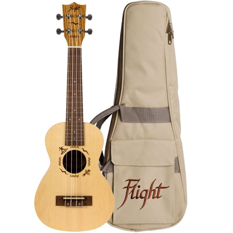 Flight DUC525 Concert Ukulele - Solid Top, Spruce and Zebrawood