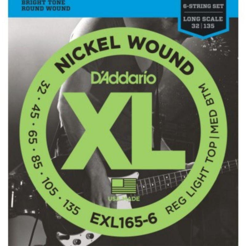 D'Addario XL Nickel Wound 6-String Bass 032-135 Long