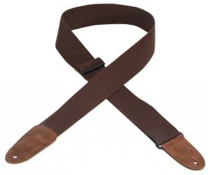 Levy's MC8-BRN Cotton Leather Ends Brown Guitar Strap