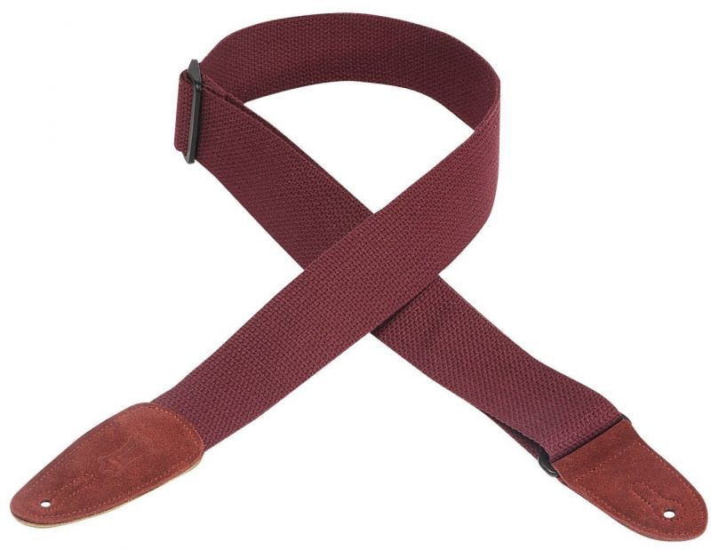 Levy's MC8-BRG Cotton Leather Ends Burgundy Guitar Strap