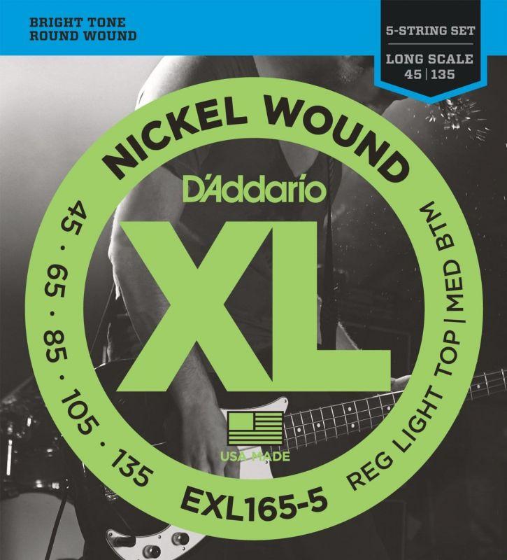 D'addario EXL1655 Bass Guitar String Set XL 45 135 Long 5 String