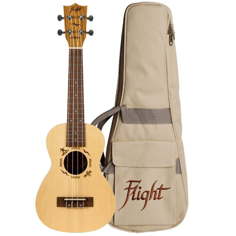 Flight DUC525 Concert Ukulele - Solid Top, Spruce and Zebrawood