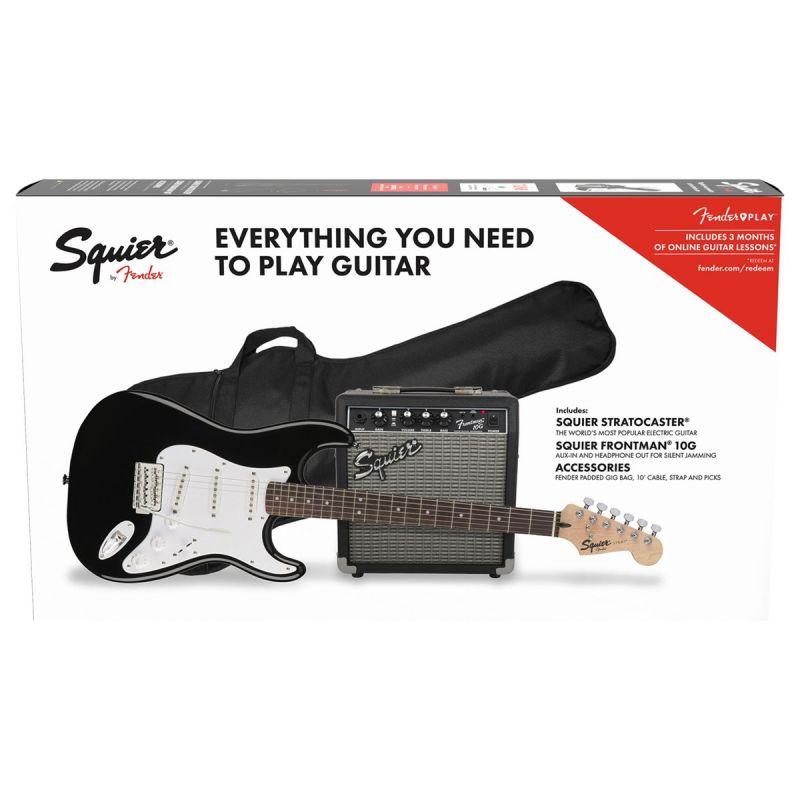 Squier Stratocaster Pack, Laurel Fingerboard, Black, Gig Bag, 10G