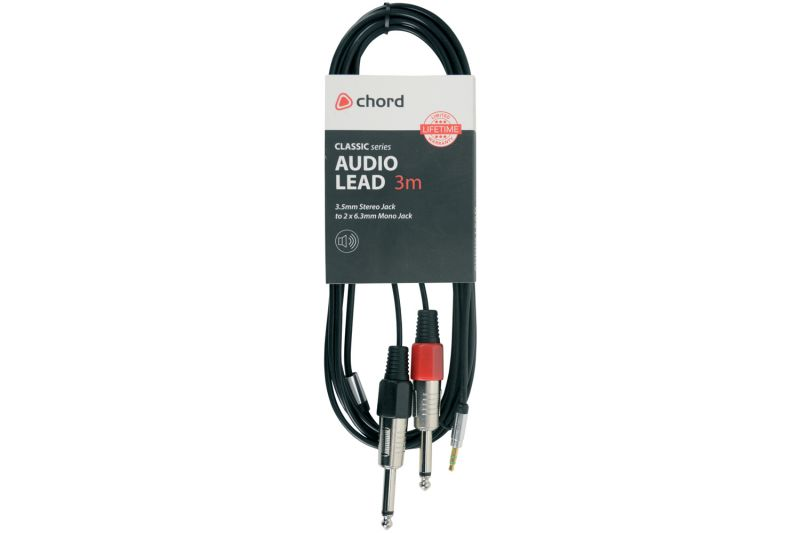 Chord Audio Lead 3 5mm Stereo Jack To 2 x 6 3mm Mono Jack
