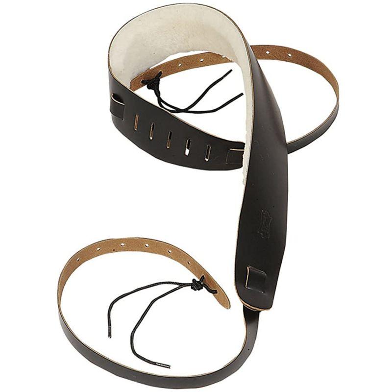 Westside Banjo Strap 25 leather w sheepskin lining cradle style blk tan