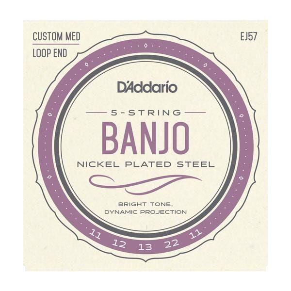 D'Addario 5-String Banjo Strings, Nickel, Custom Medium, 11-22