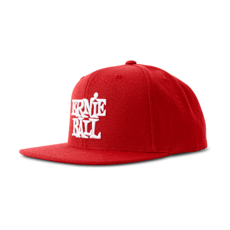 Ernie Ball Cap Red With Stacked White Logo