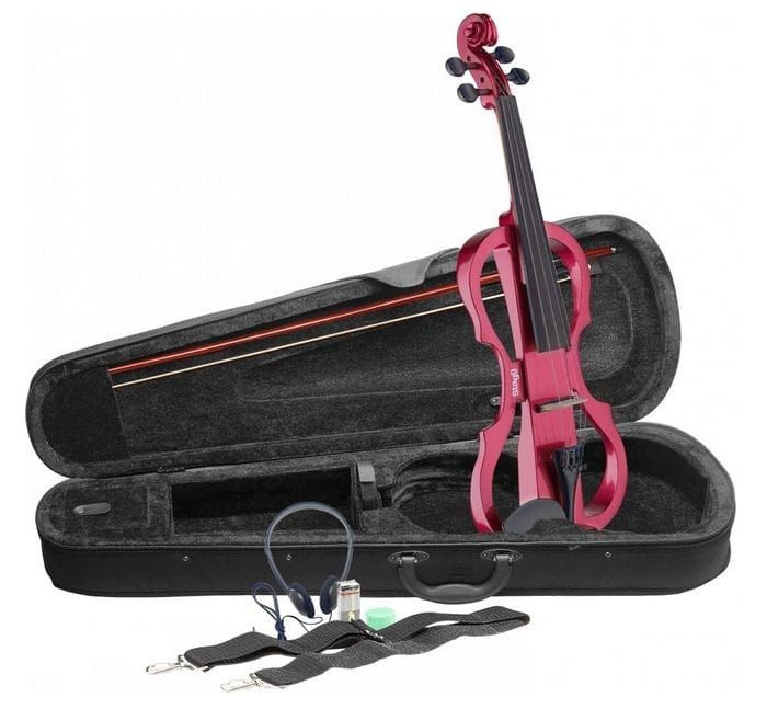 Stagg Electric Violin with Headphones+Softcase Metalic Red