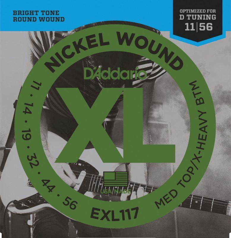 D'addario EXL117 Electric Guitar String Set Medium Heavy Bottom