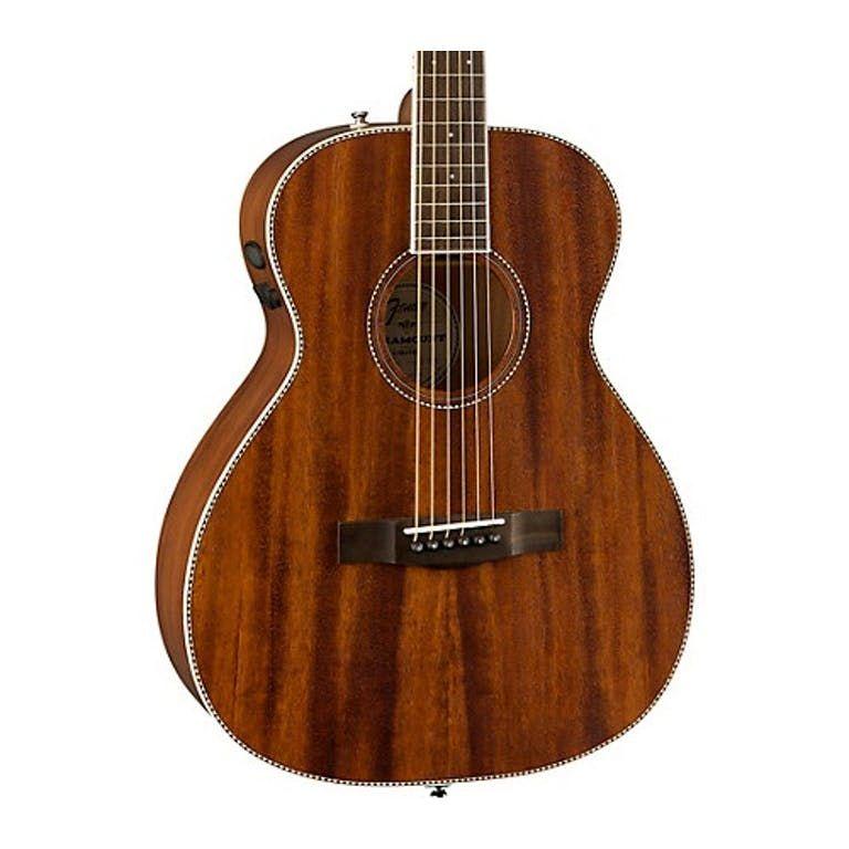 Fender PM-TE Standard Travel Guitar, All-Mahogany Natural Acoustic Guitar