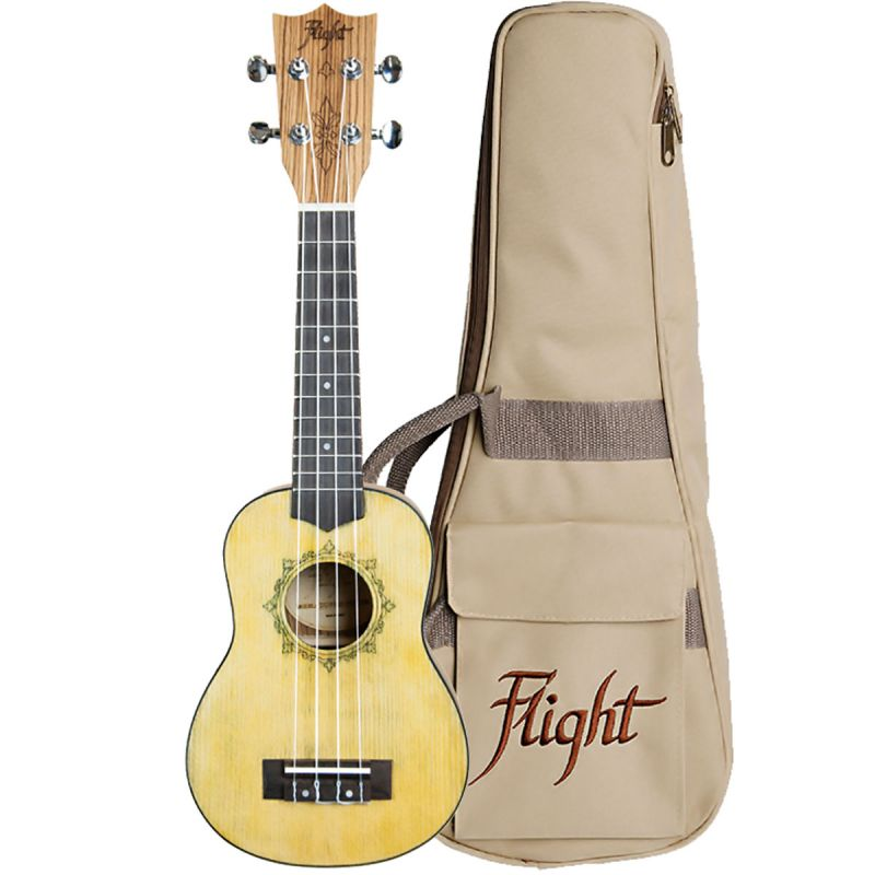 Flight DUS330 Soprano Ukulele, Spruce and Zebrawood, Distressed