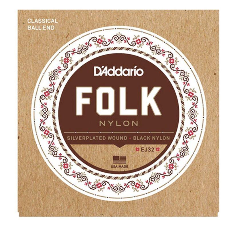 D'Addario Folk Nylon Guitar Strings, Ball End, Silver Wound/Black Nylon Trebles