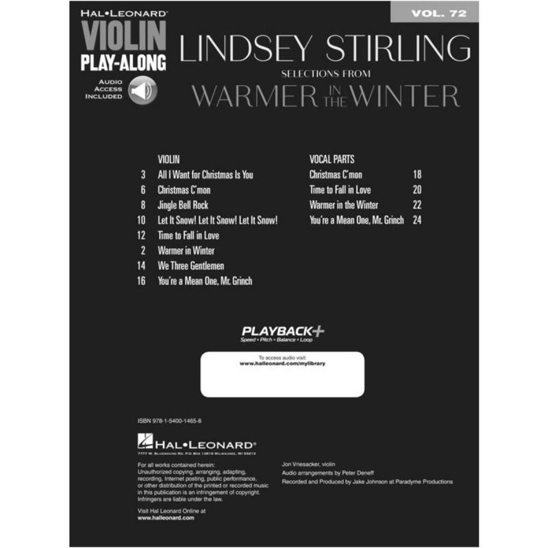 Lindsey Stirling Selections from Warmer in the Winter (Violin)